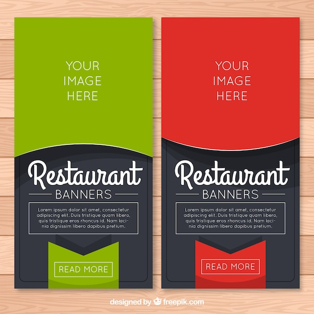 restaurant banners with tag vector premium download