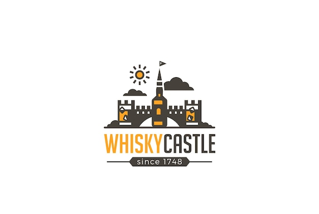 Restaurant bar whisky castle logo brewery   icon. Free Vector