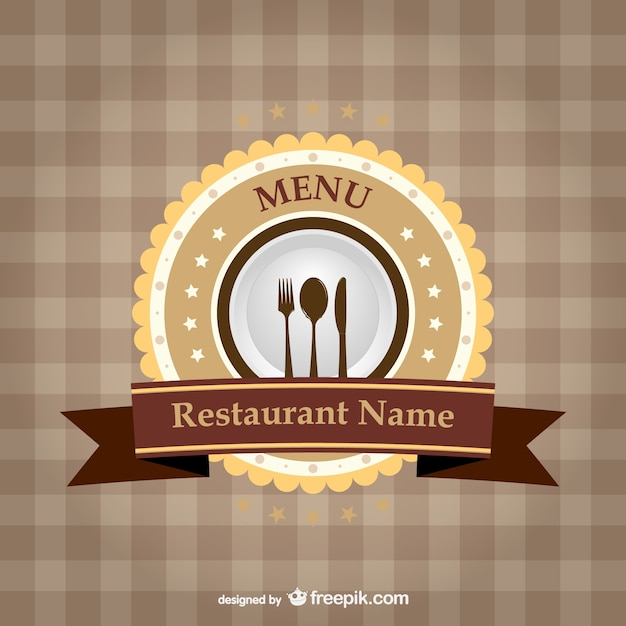 Restaurant brand ribbon template  Free Vector