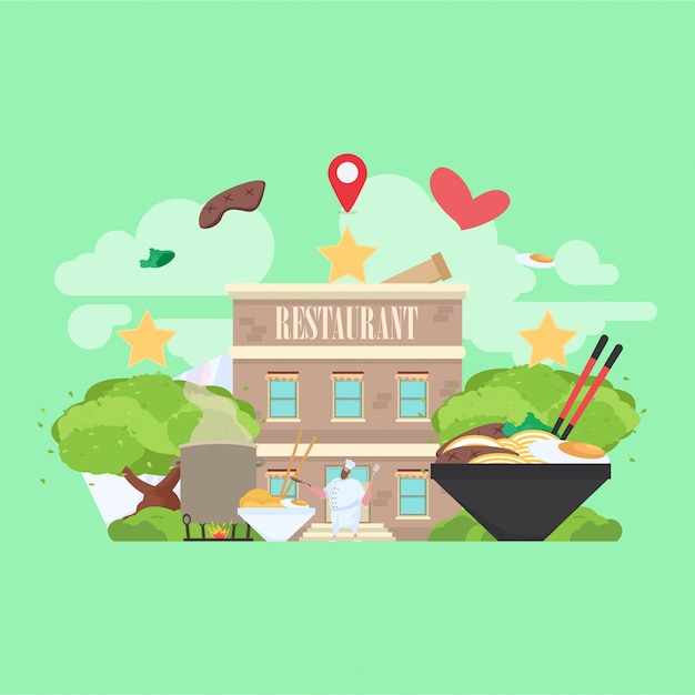 Restaurant building with food picture in the background Premium Vector