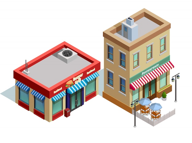 Restaurant buildings composition Free Vector