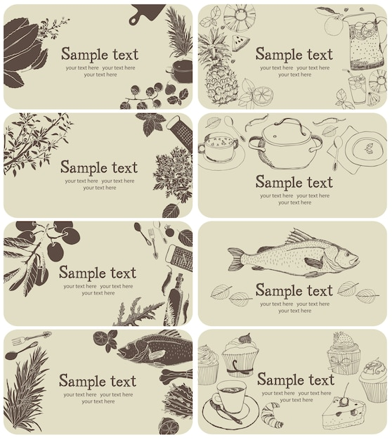 Набор визитных карточек для ресторанов Бесплатные векторы