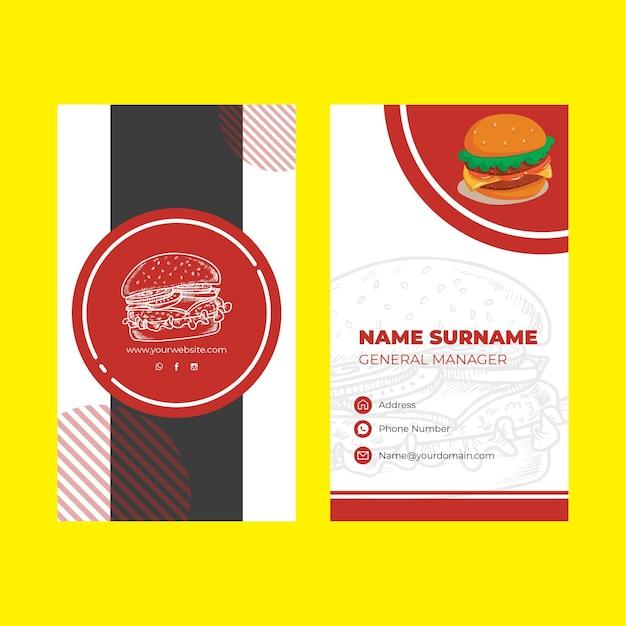 Restaurant business card template Free Vector