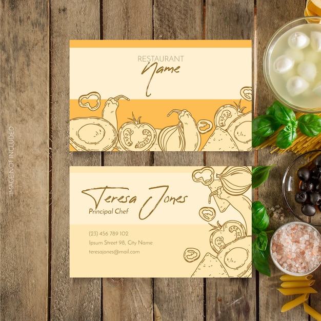 Restaurant business card Free Vector