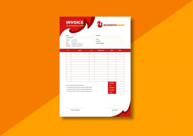 Restaurant business invoice template Premium Vector