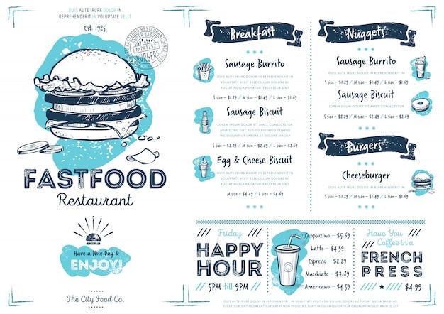Restaurant cafe fast food menu template Premium Vector