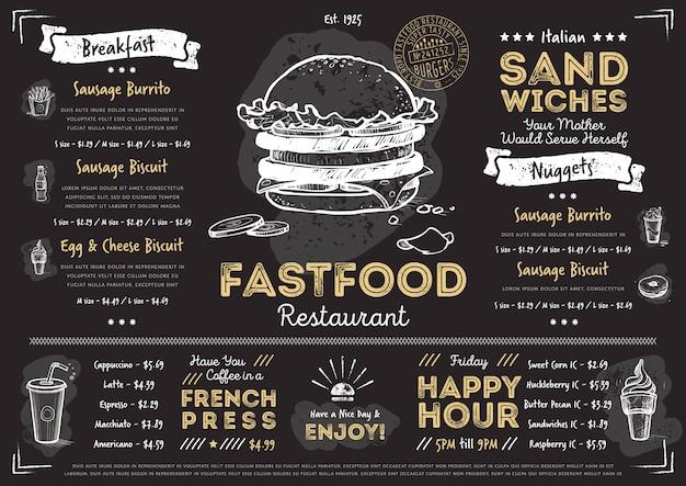 Шаблон меню ресторана быстрого питания кафе Premium векторы