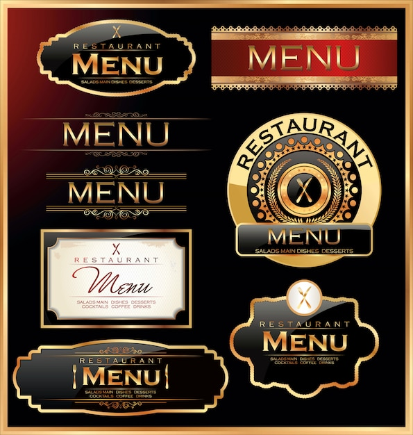Restaurant and cafe labels Premium Vector