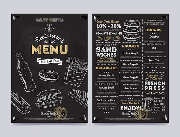 Restaurant cafe menu template design, vector Premium Vector