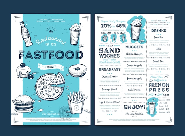 Restaurant cafe menu template design, vector Premium Vector