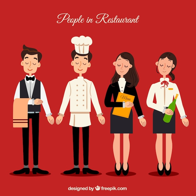 Restaurant characters collection Free Vector
