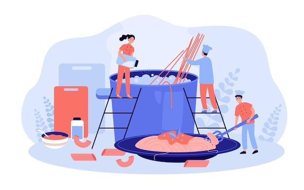 Restaurant chef and his team cooking pasta Premium Vector