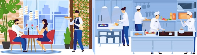 Restaurant chef team cooking in kitchen, waiter serves people on romantic date,  illustration Premium Vector