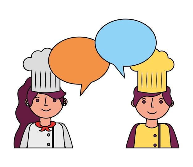 Restaurant chefs couple with speech bubbles Premium Vector