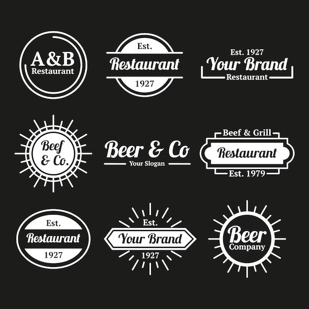 Ресторан кофе ретро логотип коллекции Бесплатные векторы