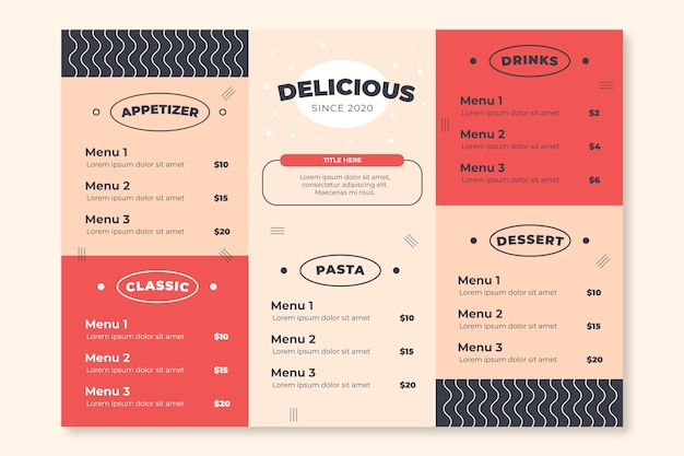 Restaurant colorful menu template Free Vector