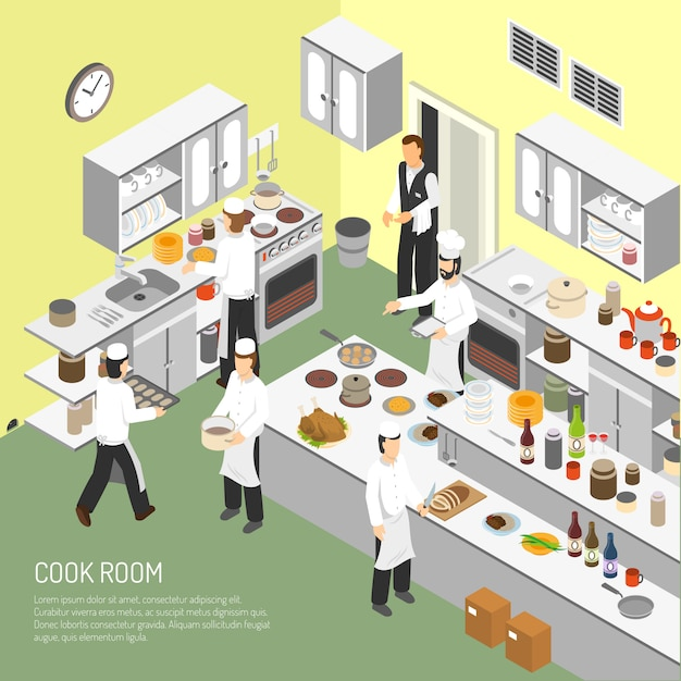 Restaurant cooking room isometric poster Free Vector