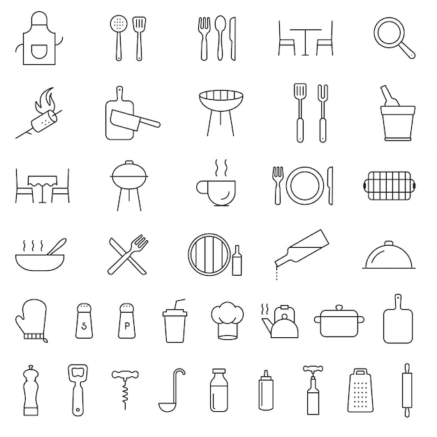 Restaurant, cooking, serving, kitchen, cutlery, tools Premium Vector
