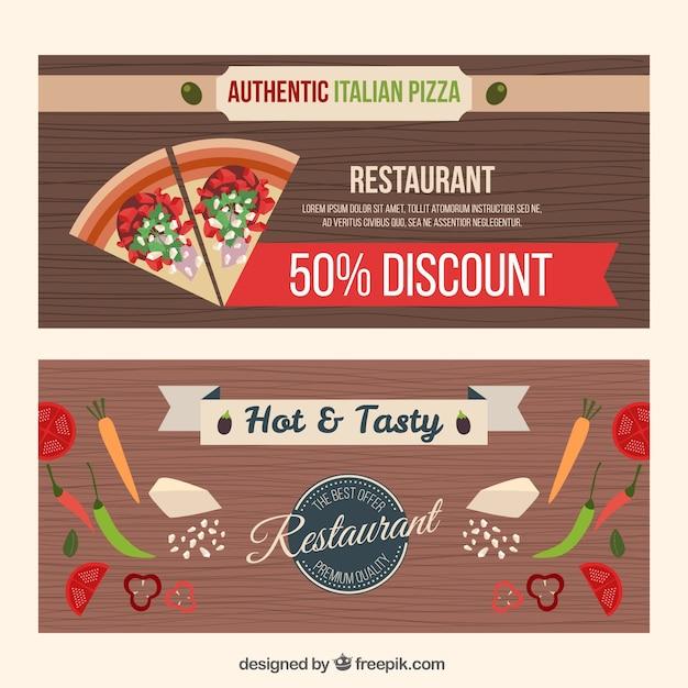 Restaurant discount wooden banners Free Vector