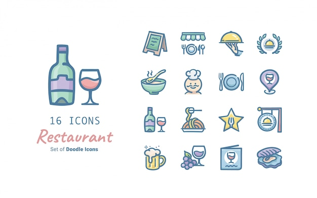 Restaurant doodle icon collection Premium Vector