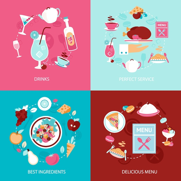 Restaurant drinks perfect service best ingredients delicious menu decorative icons set isolated vector illustration