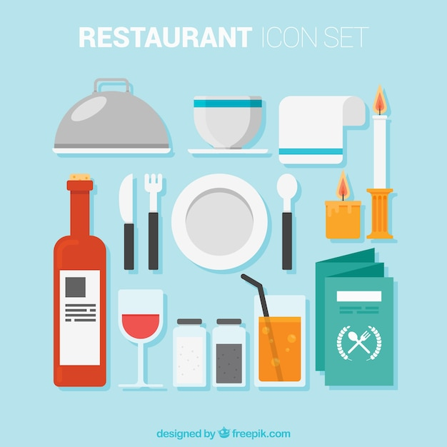 Restaurant elements in flat style Free Vector