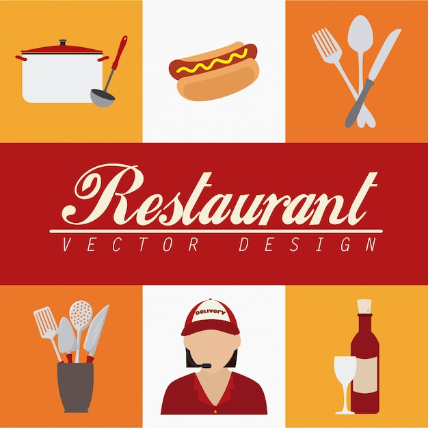Restaurant elements over white and yellow Free Vector
