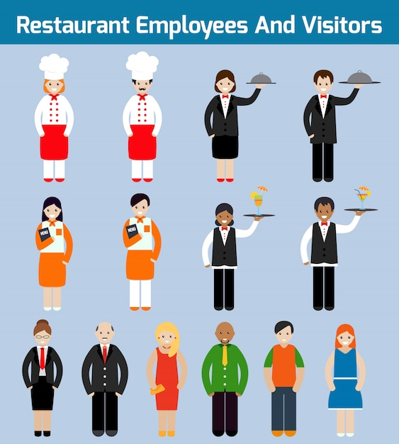 Restaurant employees and visitors flat avatars set with waiter chef servant isolated vector illustration Free Vector