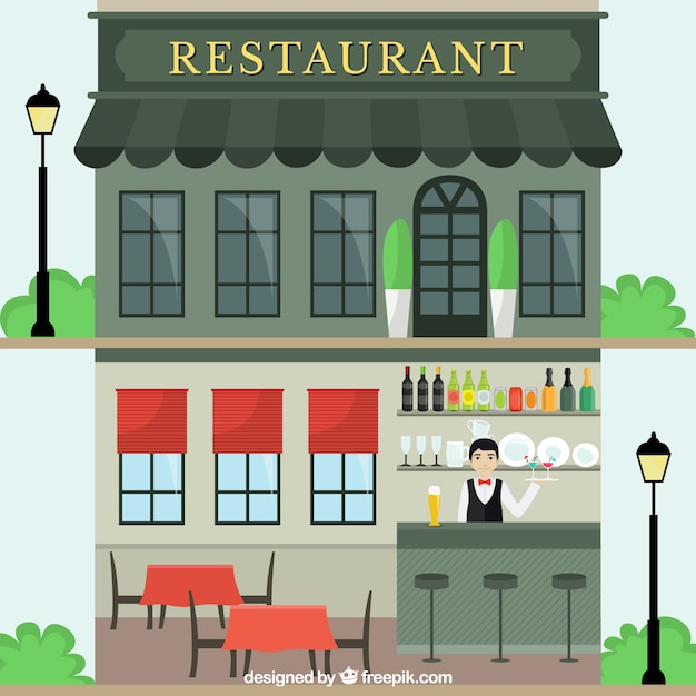 Restaurant Facade restaurant facade in flat style vector | free download