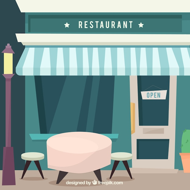 Restaurant facade with table in flat design vector free for Table flat design
