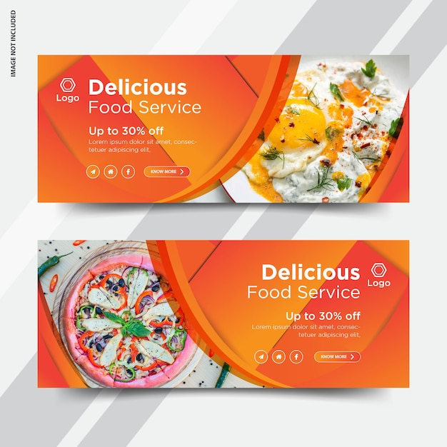 レストランfacebookカバーバナー Premiumベクター
