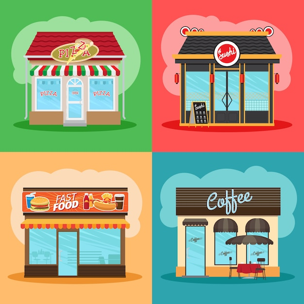 Restaurant or fast food store front set Premium Vector