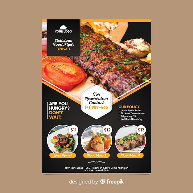 Restaurant flyer template with photo Free Vector