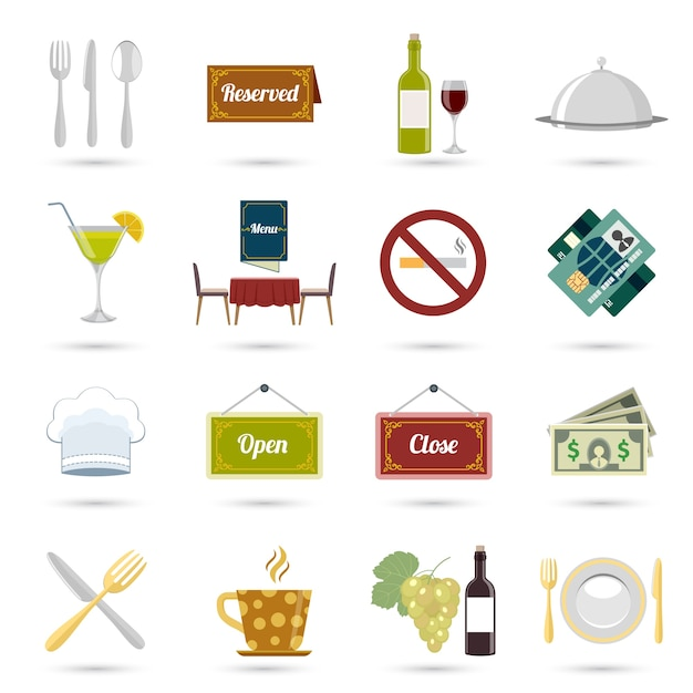 Restaurant food cooking and serving icons set isolated vector illustration Free Vector