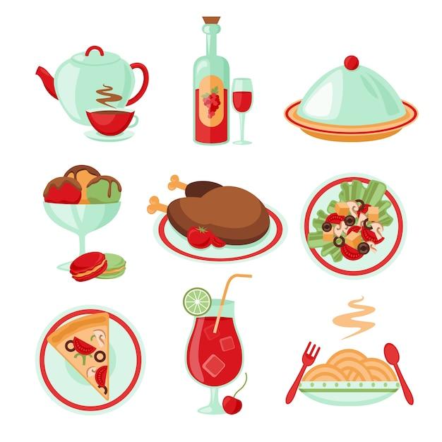 Restaurant food drink menu decorative icons set\ isolated vector illustration