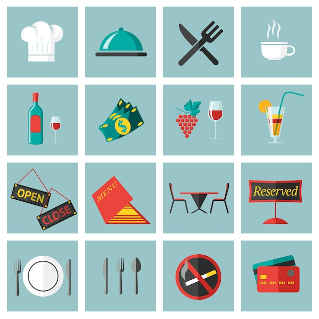 Restaurant food elements set Premium Vector