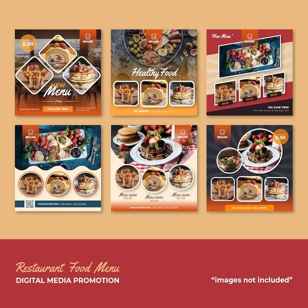 Restaurant food menu social media promotion Premium Vector