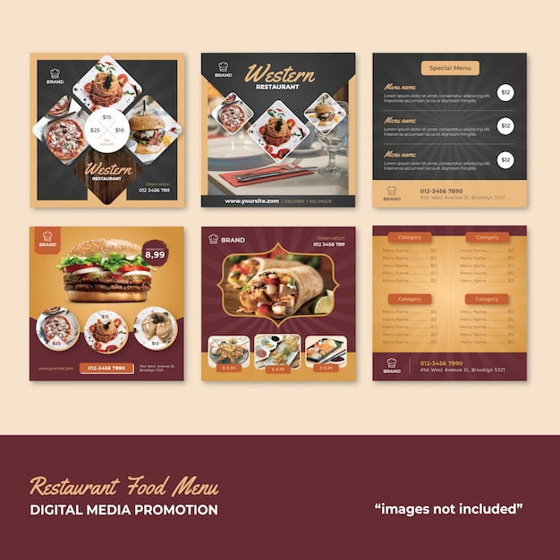 Restaurant food menu social media promotion Premium Vector