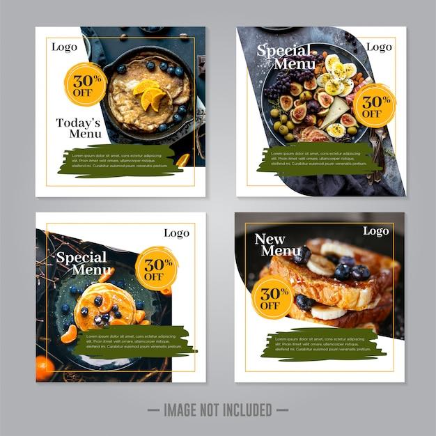 Restaurant food social media banner post   template Premium Vector