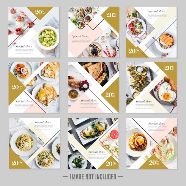 Restaurant food social media post template banners Premium Vector