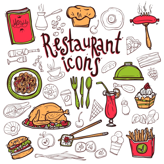 Restaurant Icons Doodle Symbols Sketch Vector Free Download