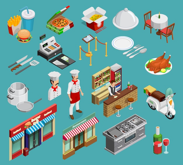 Restaurant icons set Free Vector