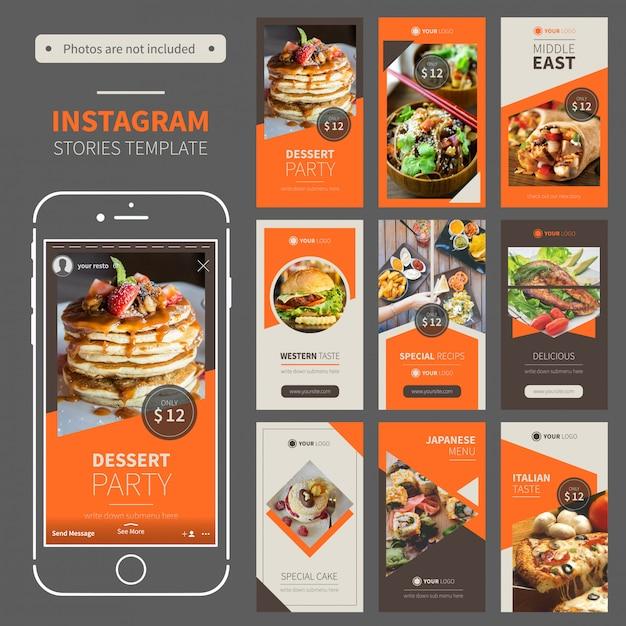 Restaurant instagram stories template Premium Vector