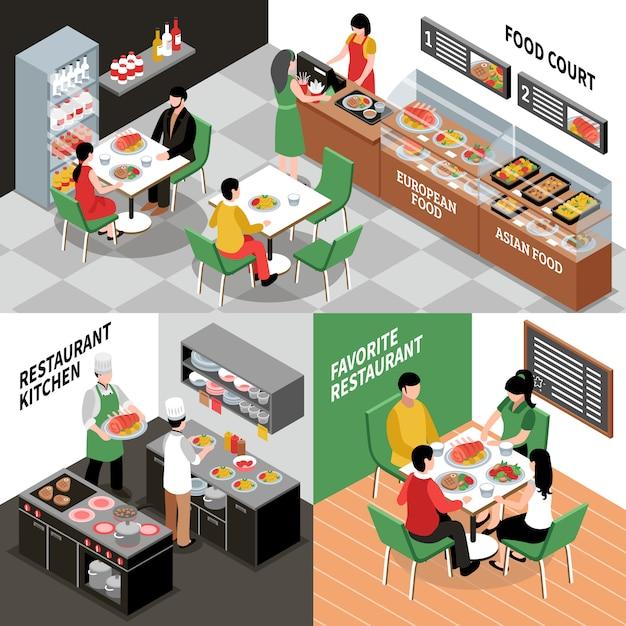 Restaurant interior compositions set Free Vector