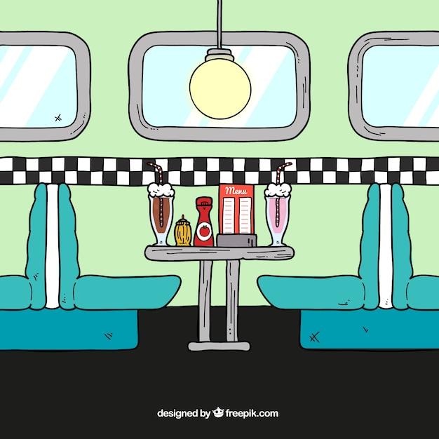 Restaurant interior illustration vector free download