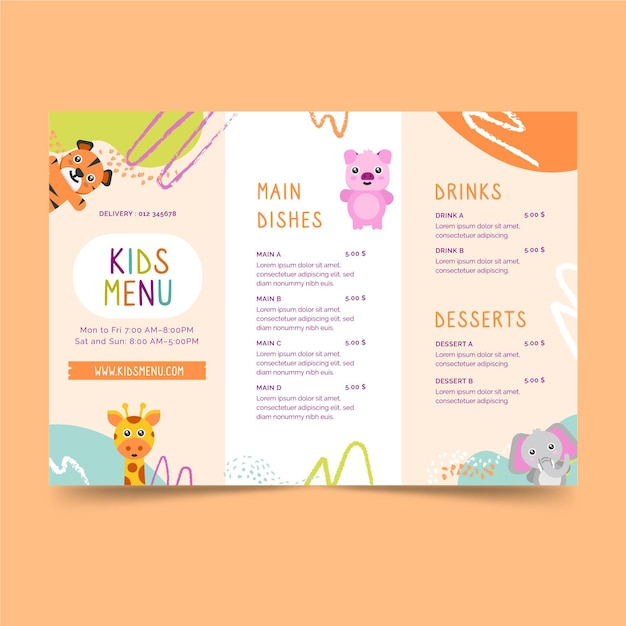 Modello di menu per bambini del ristorante Vettore gratuito
