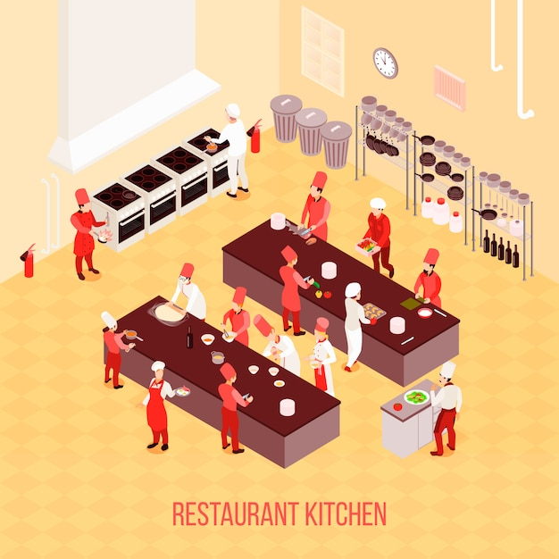 Restaurant kitchen isometric composition in beige tones with chefs, tables for preparation, ovens, trash containers Free Vector