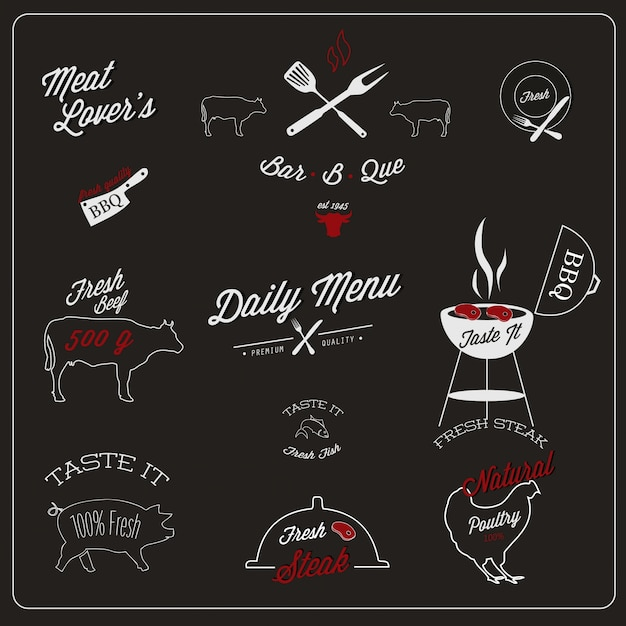 Restaurant label design Free Vector
