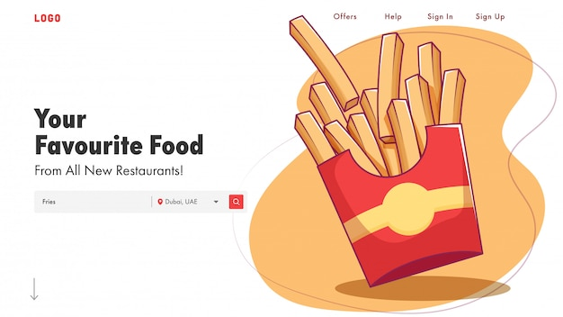 Restaurant landing page or web banner  with fries illustration. Premium Vector