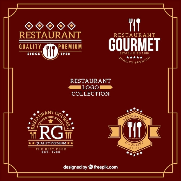 Restaurant logo collection in flat design vector free